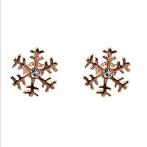 Small rose gold snowflake earrings